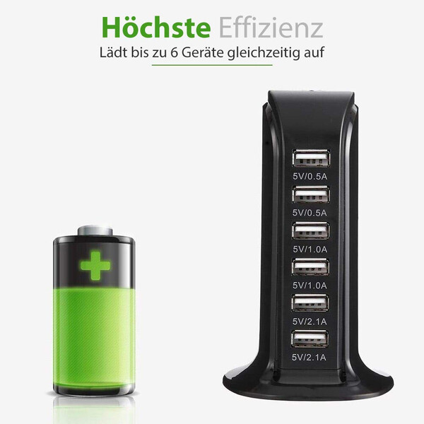 6-Port USB-Lade-Adapter mit intelligenten USB-Slots
