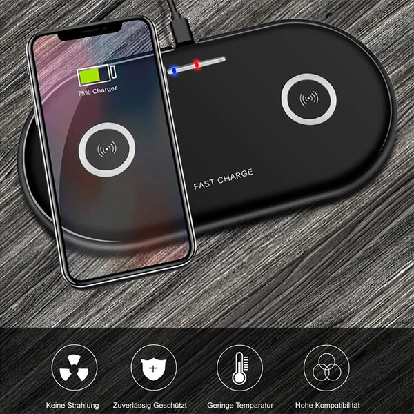 Dual Qi Ladestation für Wireless Charging mit Fast Charge Funktion