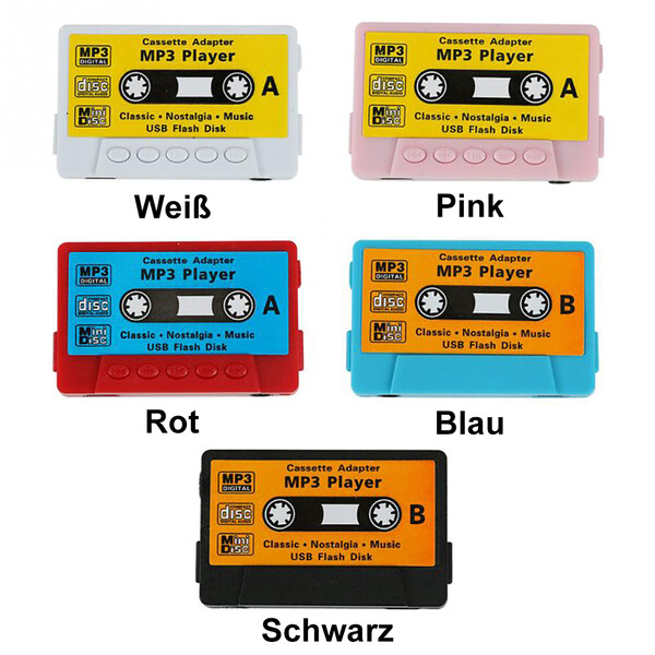 Mini-Mp3-Player Kassetten-Design Rot mit 32GB Micro SD Karte