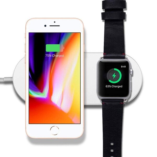 2-in-1 Qi Wireless Charger für Smartphone und Apple Watch Schwarz