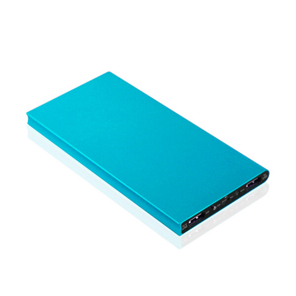 12000 mAh Ultraslim Edelstahl Power Bank Blau mit 1m Lightning Kabel