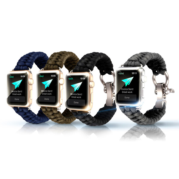 KawKaw Stoffarmband für die Apple Watch Blau Metallic 38mm